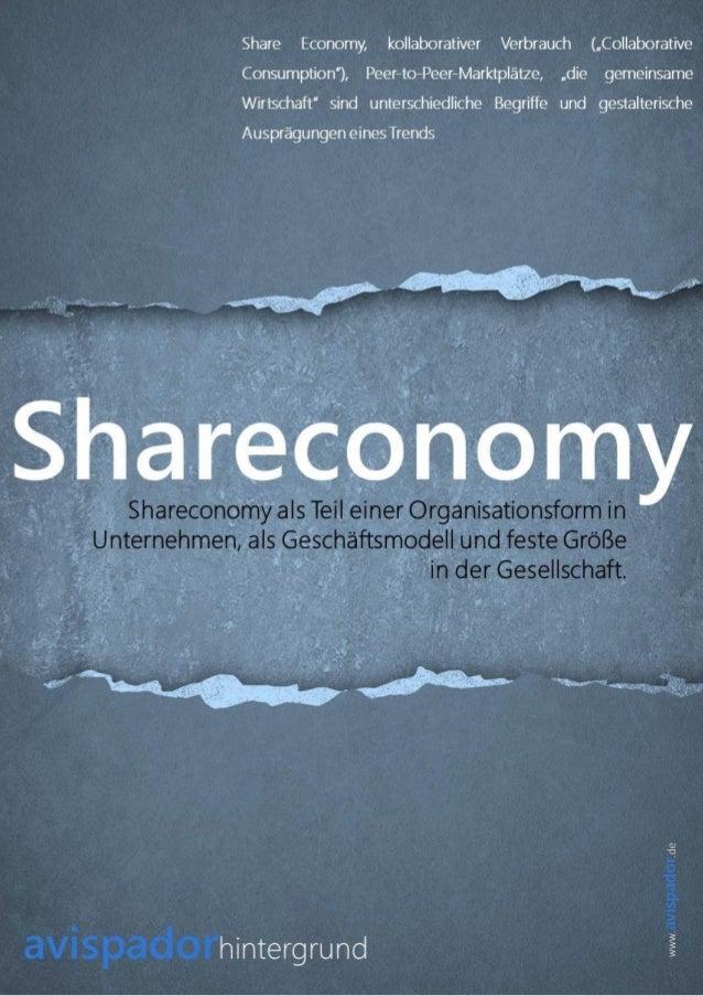 [DE] Shareconomy als Teil einer Organisationsform in Unternehmen als Geschäftsmodell und feste Größe in der Gesellschaft  avispador_hintergrund
