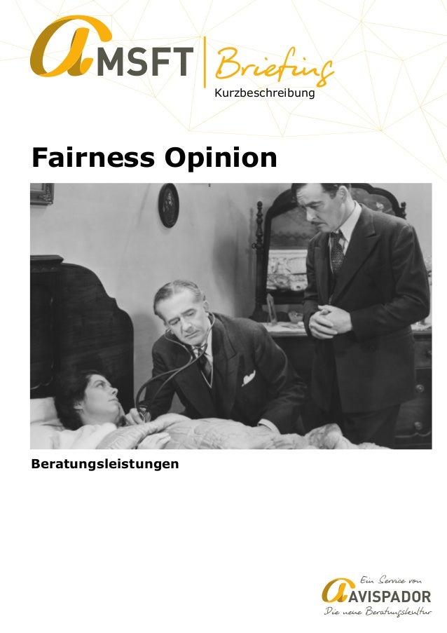 Kurzbeschreibung MSFT Fairness Opinion AVISPADOR Beratungsleistungen