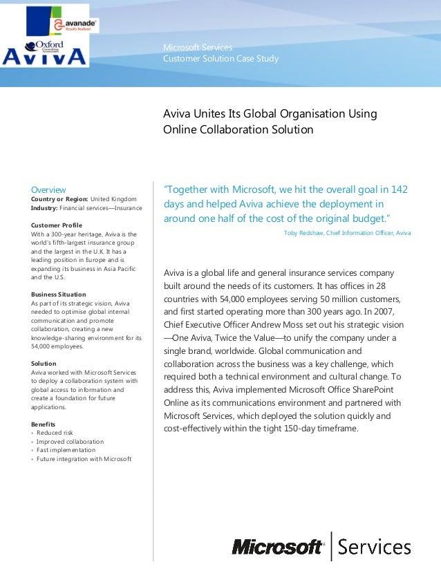 Microsoft Services Customer Solution Case Study Aviva Unites Its Global Organisation Using Online Collaboration Solution O...