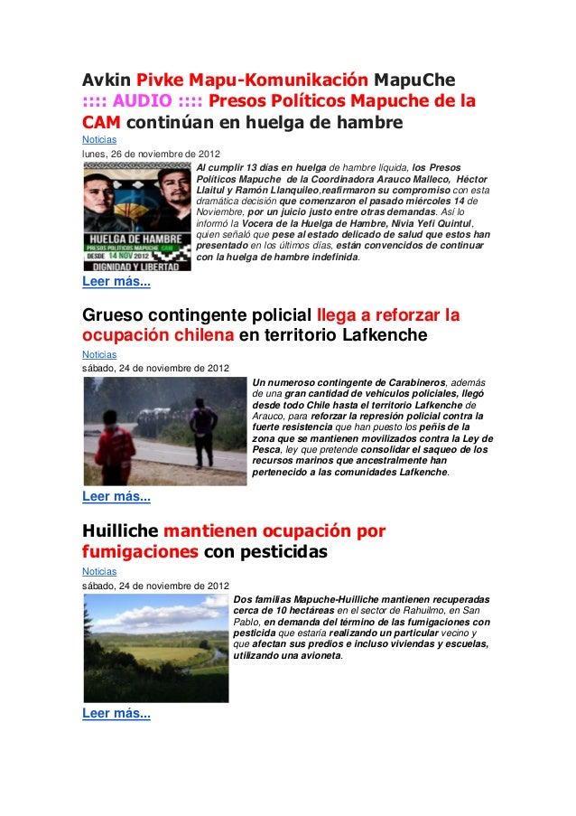 Avkin Pivke Mapu-Komunikación MapuChe:::: AUDIO :::: Presos Políticos Mapuche de laCAM continúan en huelga de hambreNotici...