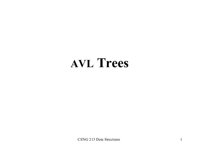 AVL Trees  CENG 213 Data Structures  1
