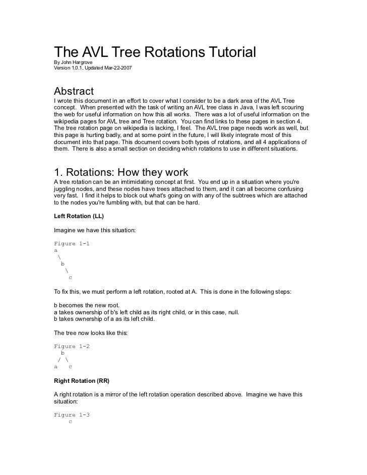 The AVL Tree Rotations TutorialBy John HargroveVersion 1.0.1, Updated Mar-22-2007AbstractI wrote this document in an effor...