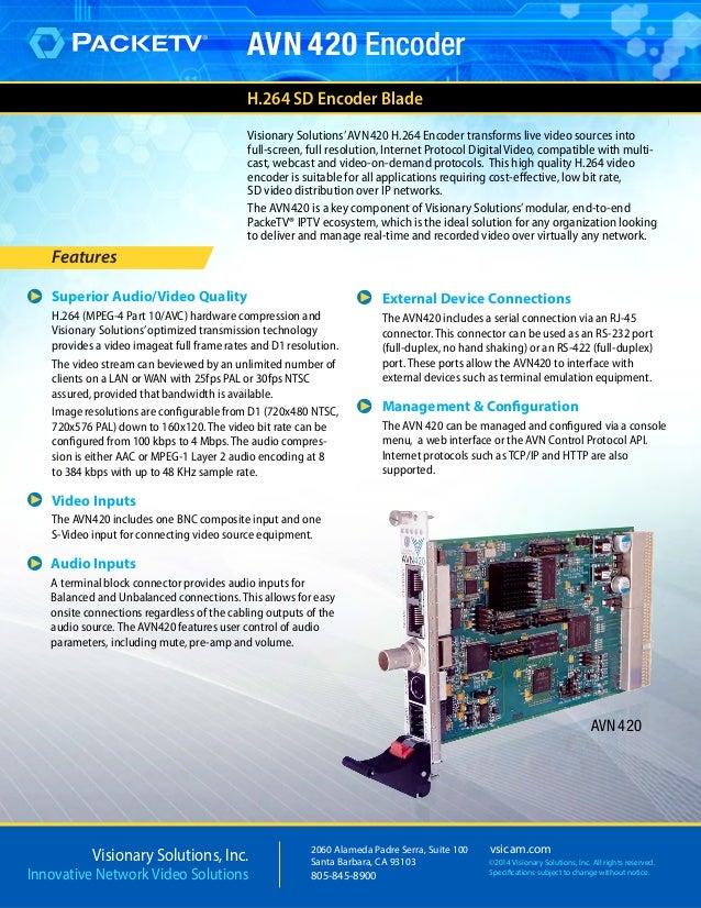 Visionary Solutions AVN420 H.264 PackeTV Encoder