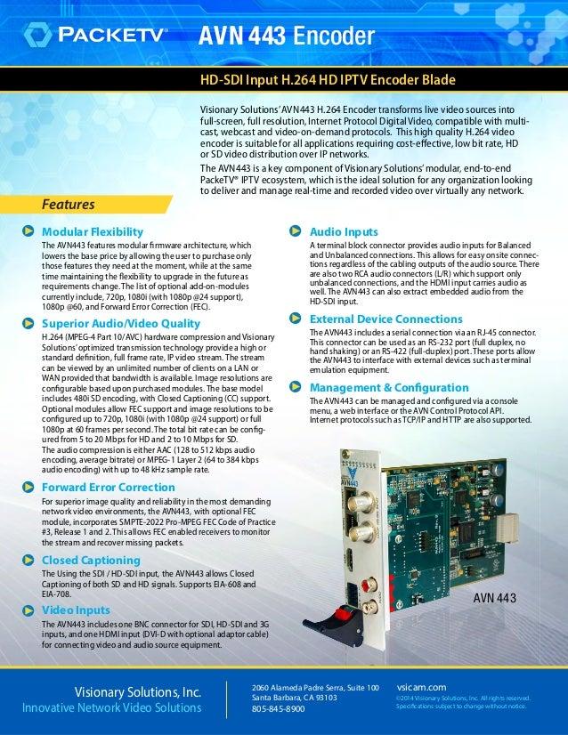 Visionary Solution AVN443 H.264 PackeTV Encoder