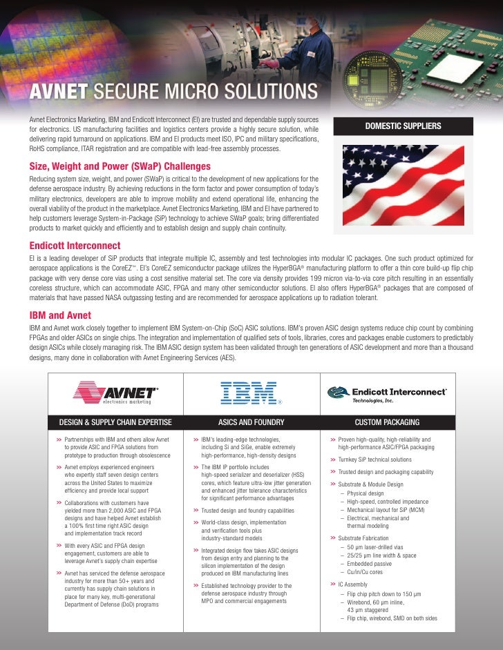 Avnet Electronics Marketing, IBM and Endicott Interconnect (EI) are trusted and dependable supply sourcesfor electronics. ...