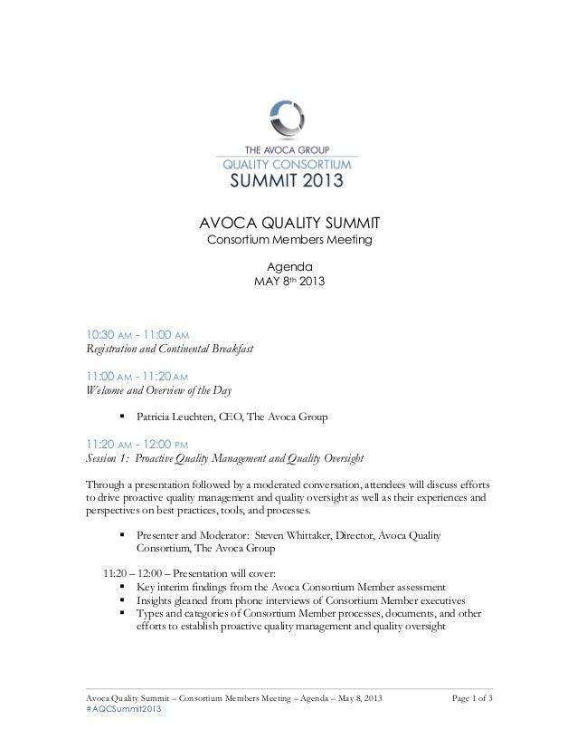 Avoca Quality Summit – Consortium Members Meeting – Agenda – May 8, 2013 Page 1 of 3#AQCSummit2013!!AVOCA QUALITY SUMMITCo...