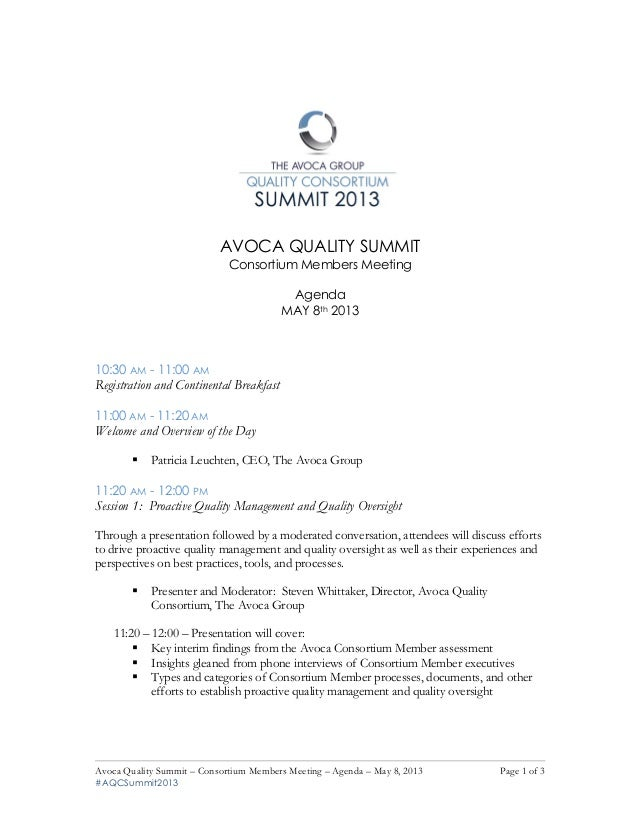 Avoca Quality Consortium Agenda May 8th Members-only meeting