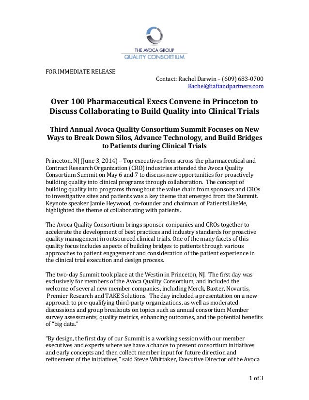 Press Release: June, 2014 'Over 100 Pharmaceutical Execs Convene in Princeton to Discuss Collaborating to Build Quality into Clinical Trials'