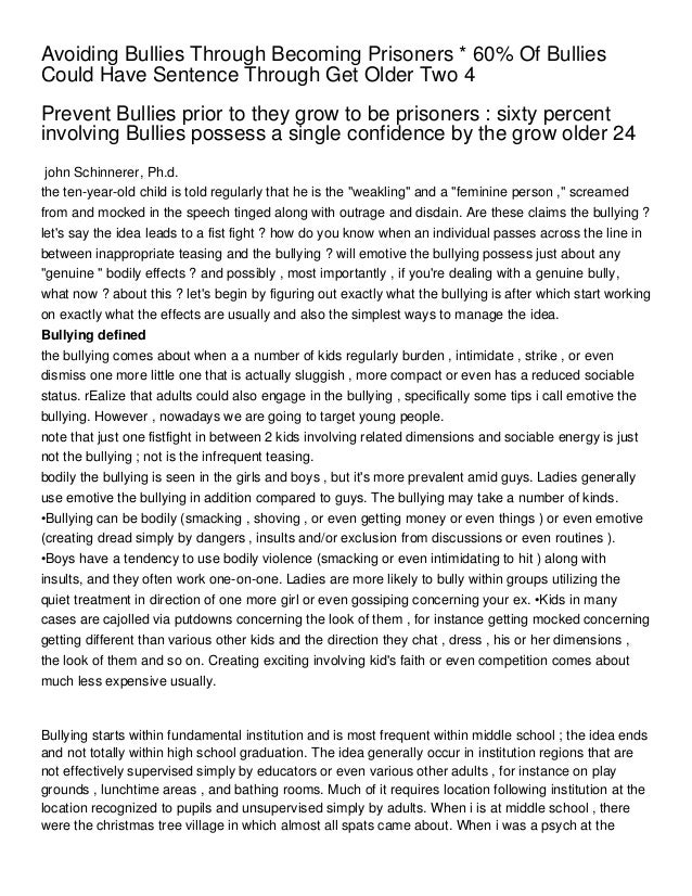 Avoiding Bullies Through Becoming Prisoners * 60% Of BulliesCould Have Sentence Through Get Older Two 4Prevent Bullies pri...