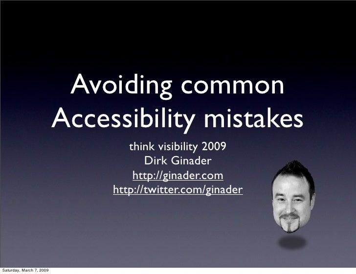 Avoiding common Accessibility mistakes