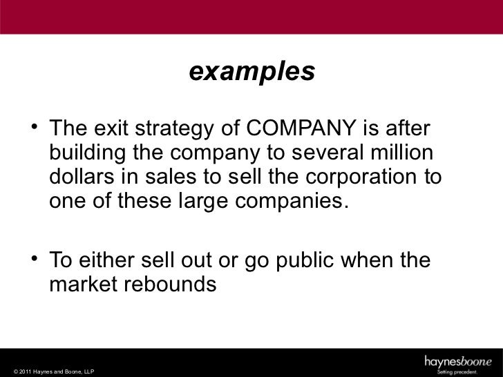 Exit strategy in business plan