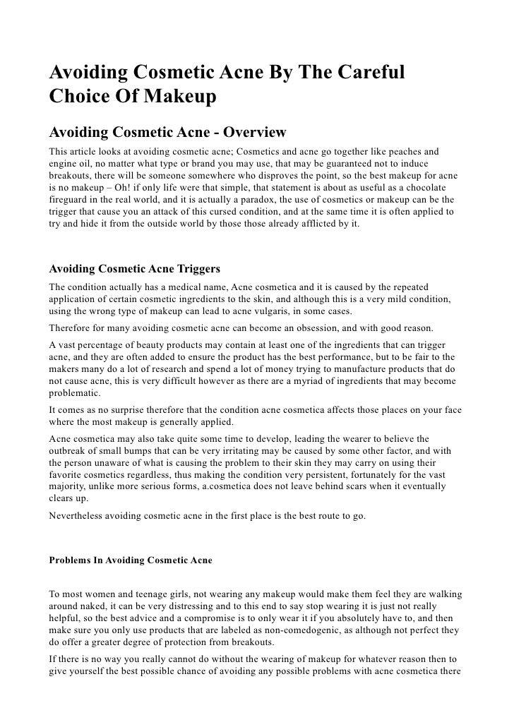 Avoiding cosmetic acne