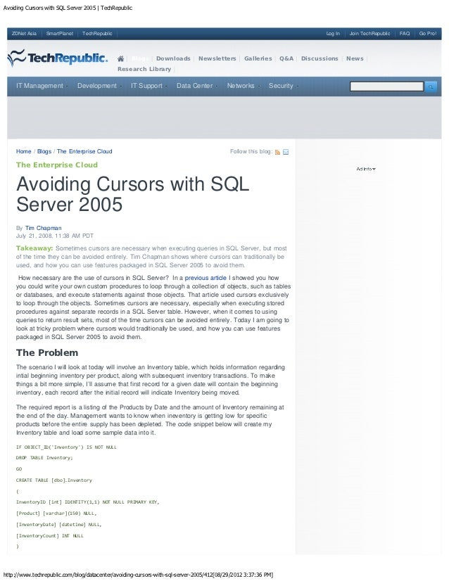 Avoiding Cursors with SQL Server 2005 | TechRepublic   ZDNet Asia    SmartPlanet    TechRepublic                          ...