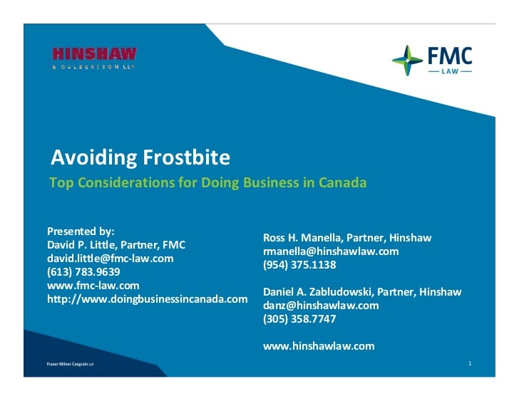 Avoiding Frostbite: Top Considerations for Doing Business in Canada
