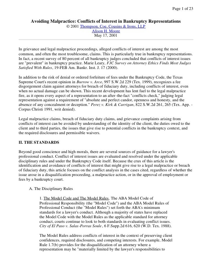 Page 1 of 23          Avoiding Malpractice: Conflicts of Interest in Bankruptcy Representations                           ...