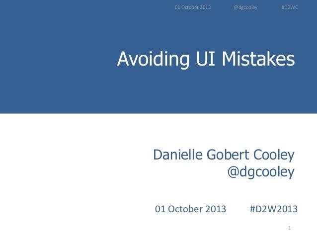 Avoiding UI Mistakes - D2WC