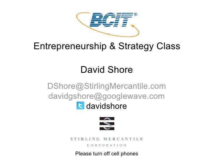 Entrepreneurship & Strategy Class