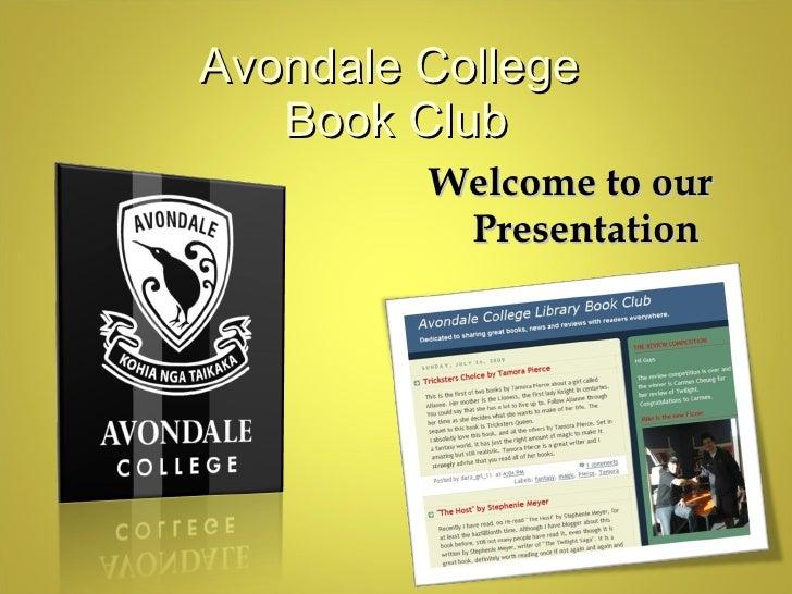 Avondale College Book Club Presentation   Slanza
