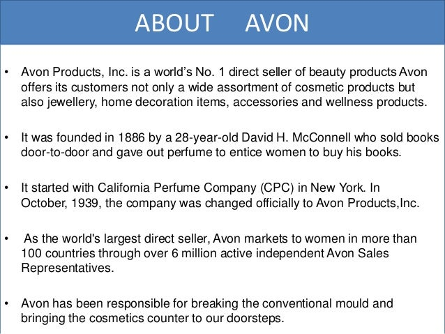 avon essay Avon is a cosmetic company marketing essay - free download as word doc (doc / docx), pdf file (pdf), text file (txt) or read online for free for assignment help.