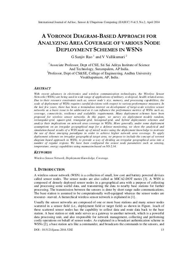 International Journal of Ad hoc, Sensor & Ubiquitous Computing (IJASUC) Vol.5, No.2, April 2014 DOI : 10.5121/ijasuc.2014....