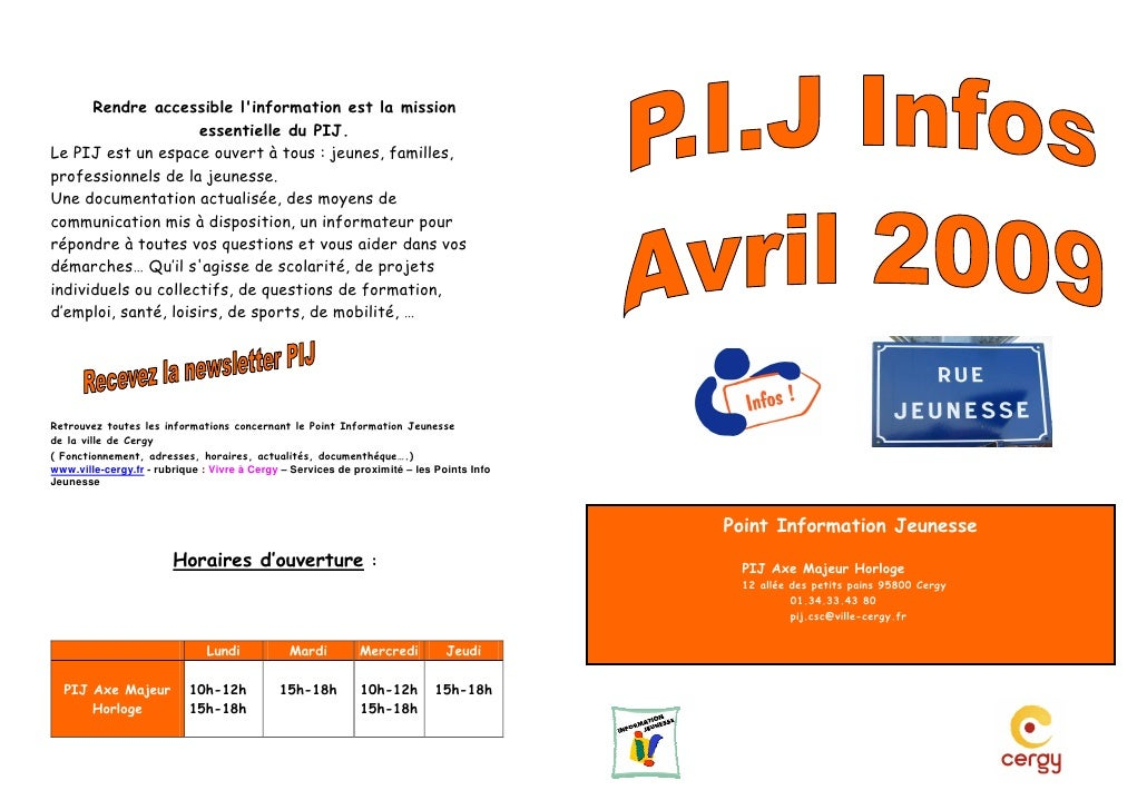 PIJ INFOS CERGY Avril 2009
