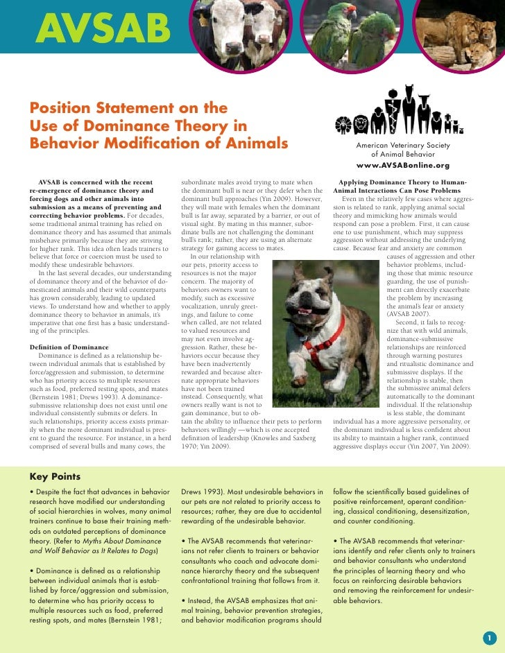 Position Statement on theUse of Dominance Theory inBehavior Modification of Animals                                       ...
