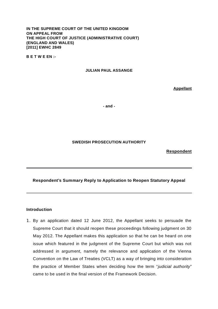 IN THE SUPREME COURT OF THE UNITED KINGDOMON APPEAL FROMTHE HIGH COURT OF JUSTICE (ADMINISTRATIVE COURT)(ENGLAND AND WALES...
