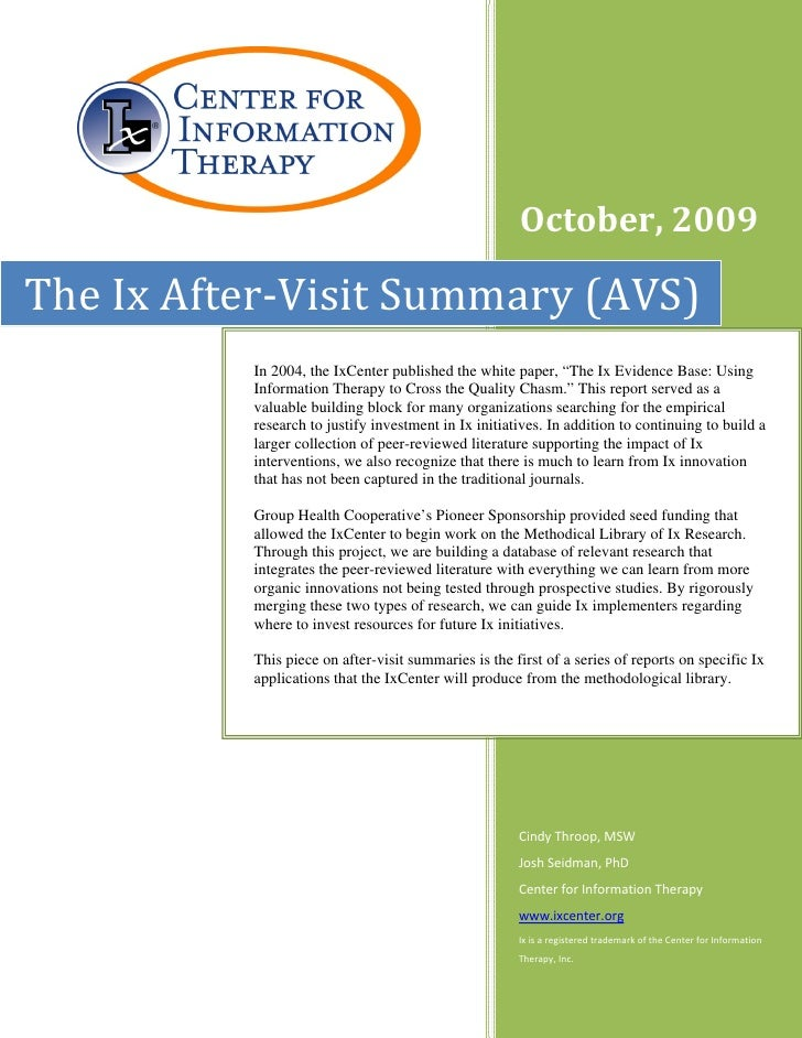 The Ix After-Visit Summary (AVS)