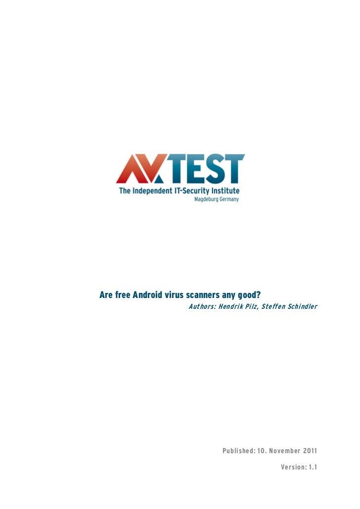 Avtest Kasım 2011 Bedava Android Antivirüs Araştırması