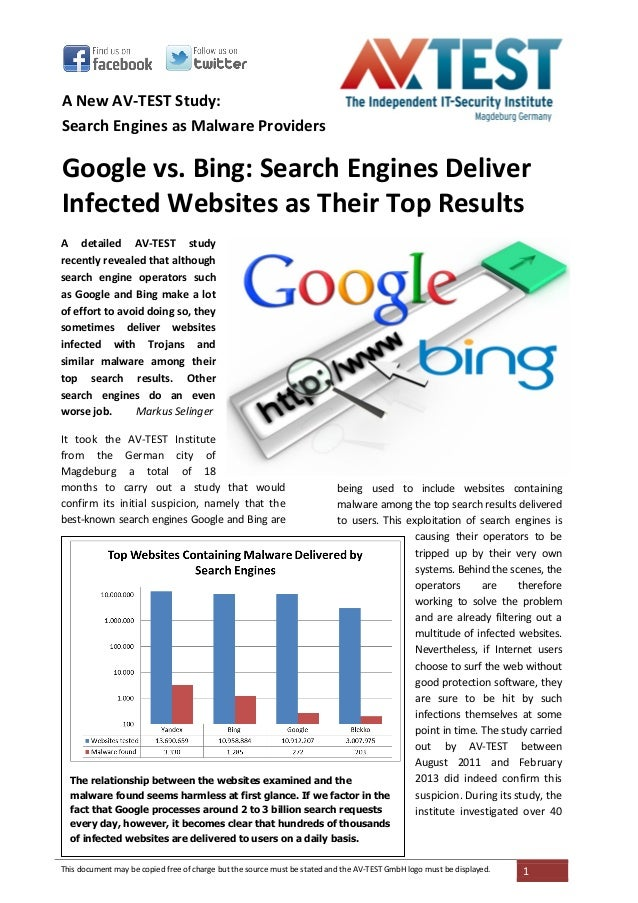 A New AV-TEST Study:Search Engines as Malware ProvidersGoogle vs. Bing: Search Engines DeliverInfected Websites as Their T...