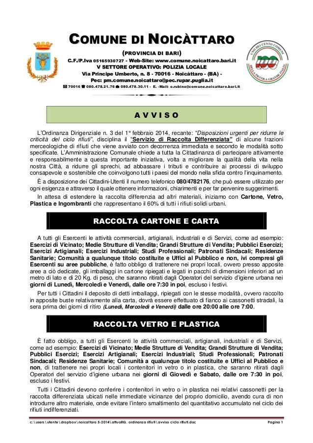 COMUNE DI NOICÀTTARO (PROVINCIA DI BARI) C.F./P.Iva 05165930727 - Web-Site: www.comune.noicattaro.bari.it V SETTORE OPERAT...