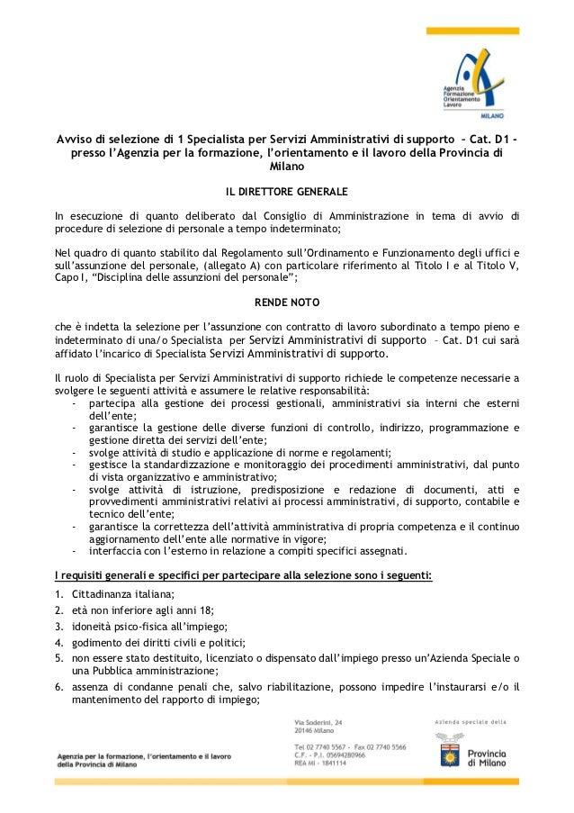 Avviso di selezione_d1_specialista_servizi_amministrativi_di_supporto__luglio_2012