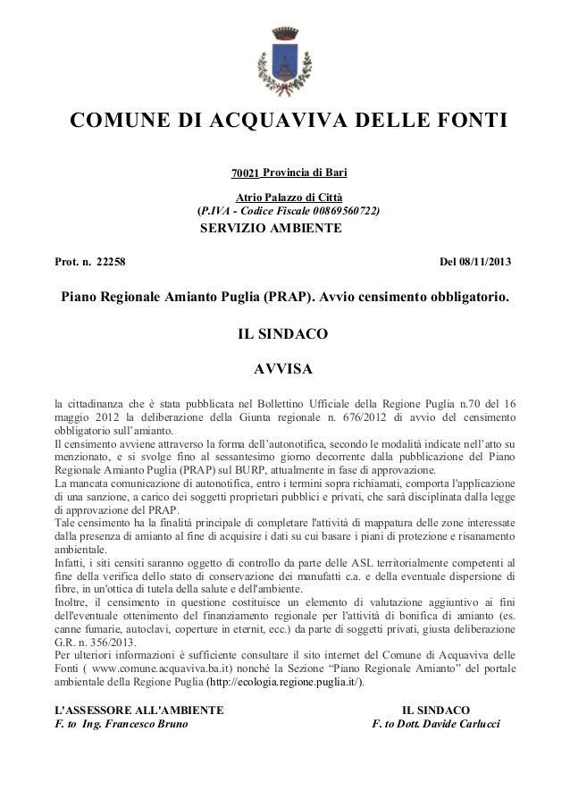 COMUNE DI ACQUAVIVA DELLE FONTI 70021 Provincia di Bari Atrio Palazzo di Città (P.IVA - Codice Fiscale 00869560722)  SERVI...