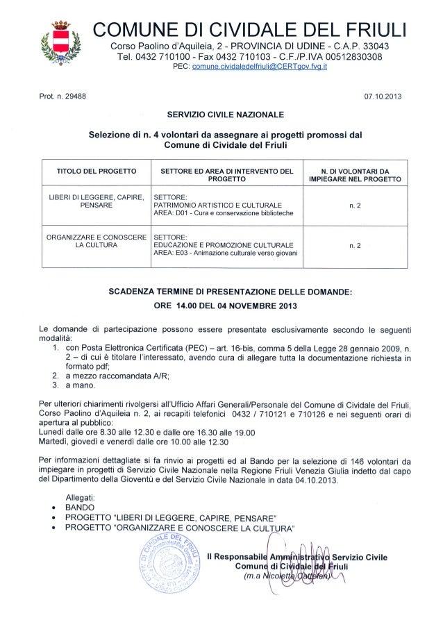 Avviso selezione volontari servizio civile Cividale del Friuli