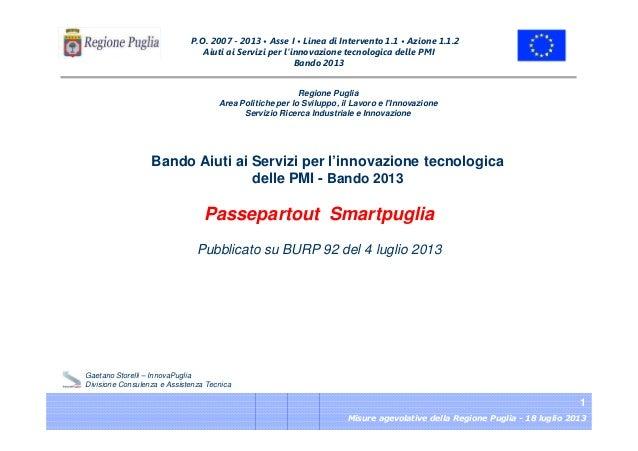 Passepartout Smartpuglia - Bando 2013 Aiuti ai Servizi per l'Innovazione tecnologica delle PMI