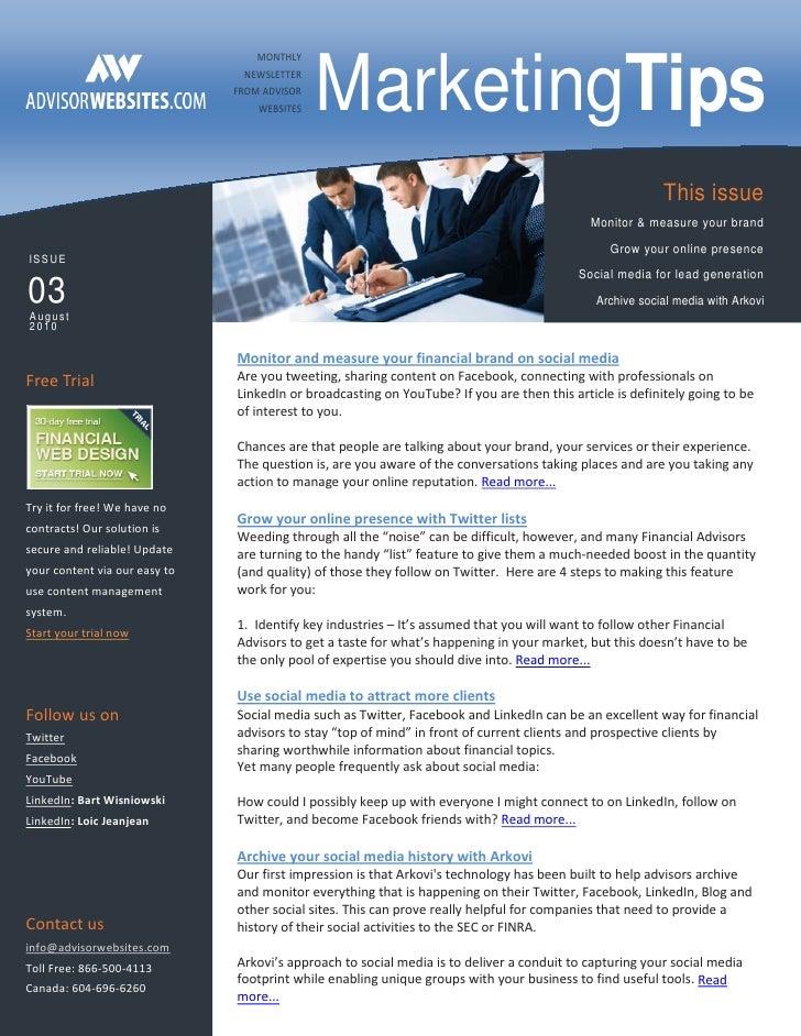 Advisor Websites Marketing Newsletter august 2010