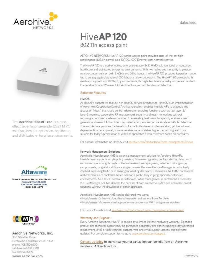 datasheet                                            HiveAP 120                                            802.11n access ...