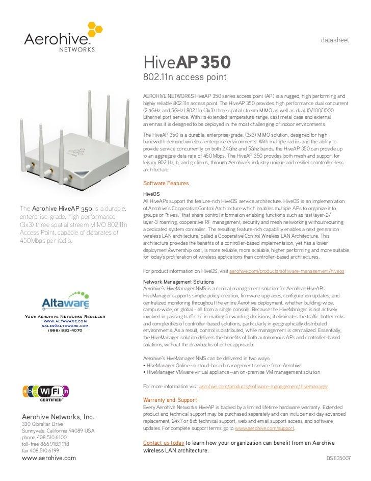 datasheet                                          HiveAP 350                                          802.11n access poin...