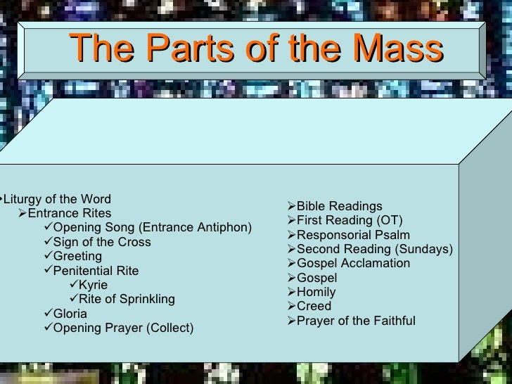 parts of a holy mass In first holy communion the children will prepare to meet the lord in this very   the eucharist unfolds in two great parts which together form one, single act of.