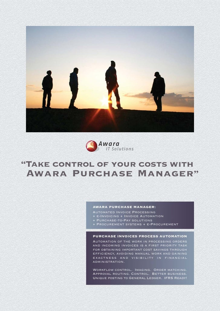 """Awara                  IT Solutions""""Take control of your costs with Awara Purchase Manager""""            AWARA PURCHASE MANA..."""