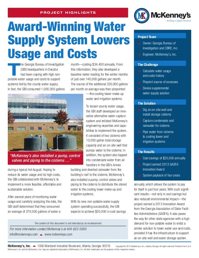 PROJECT HIGHLIGHTS  Award-Winning Water Supply System Lowers Usage and Costs  T  he Georgia Bureau of Investigation (GBI) ...