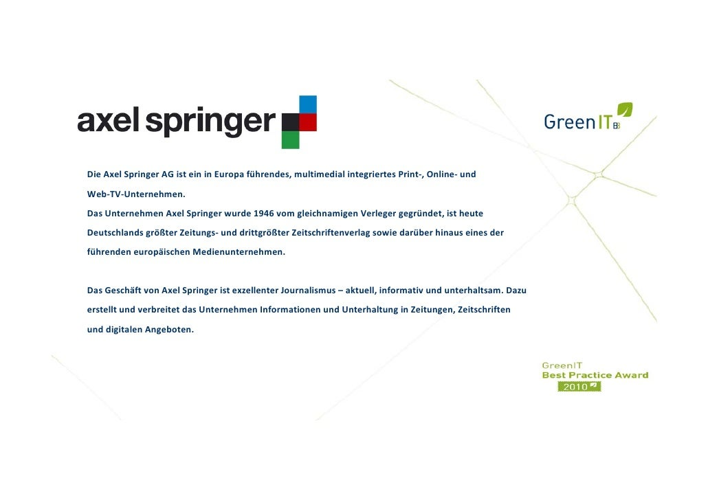 Springer AG - GreenIT Cockpit