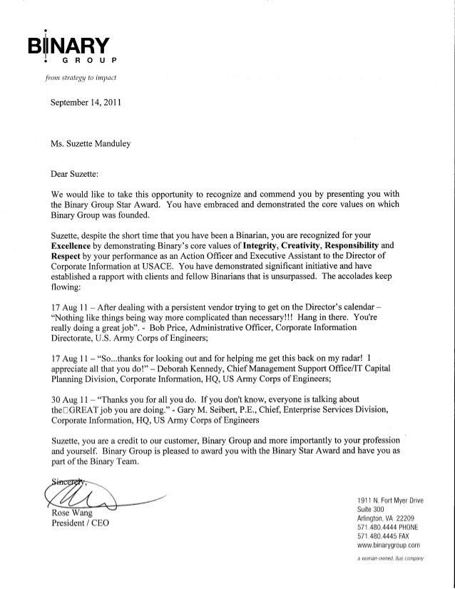 Award Letter Binary Group Sep2011 2mo S On Job
