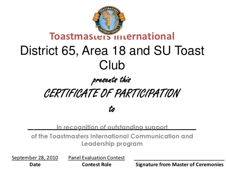Toastmasters International   District 65, Area 18 and SU Toast                   Club                               presen...