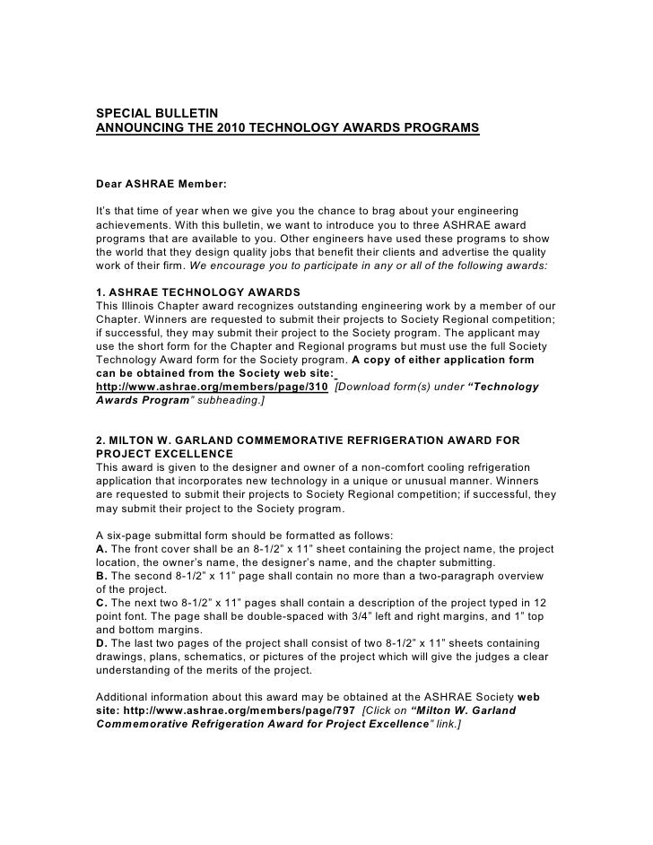 SPECIAL BULLETIN ANNOUNCING THE 2010 TECHNOLOGY AWARDS PROGRAMS    Dear ASHRAE Member:  It's that time of year when we giv...