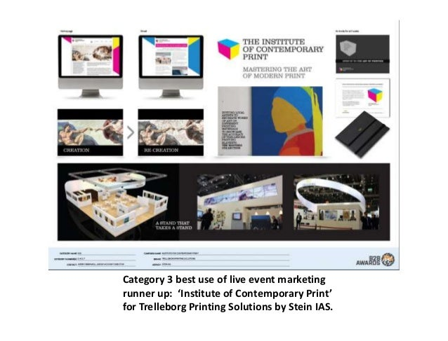 Category 3 best use of live event marketing runner up: 'Institute of Contemporary Print' for Trelleborg Printing Solutions...