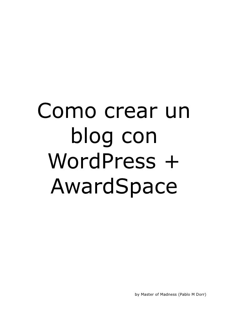 Instalar Wordpress Awardspace