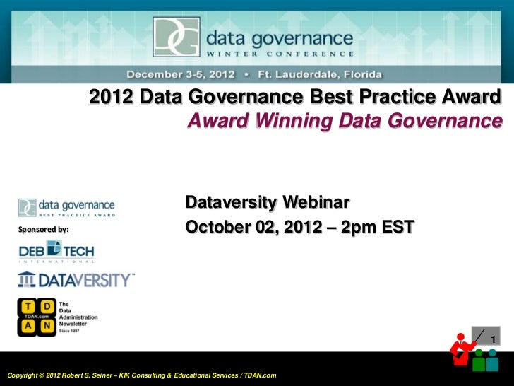 Award Winning Data Governance 2012