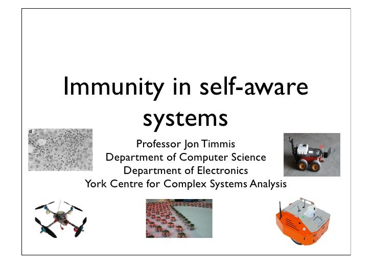 Immunity in self-aware      systems           Professor Jon Timmis     Department of Computer Science        Department of...