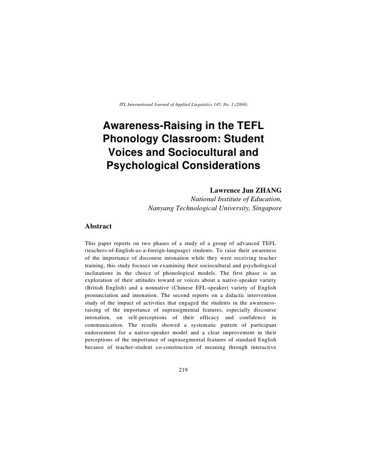 Awareness Raising In The Tefl Phonology Classroom Student Voices And Sociocultural And Psychological Considerations